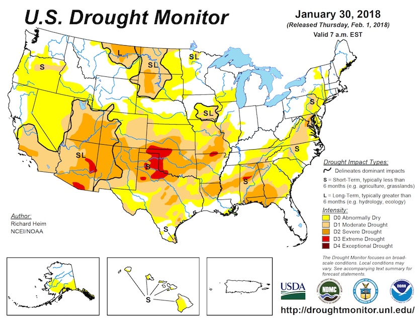 U.S. Drought Monitor released 2/1/2018
