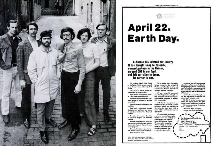Founding organizers of the first Earth Day w/the New York Times ad they placed in Jan. 1970