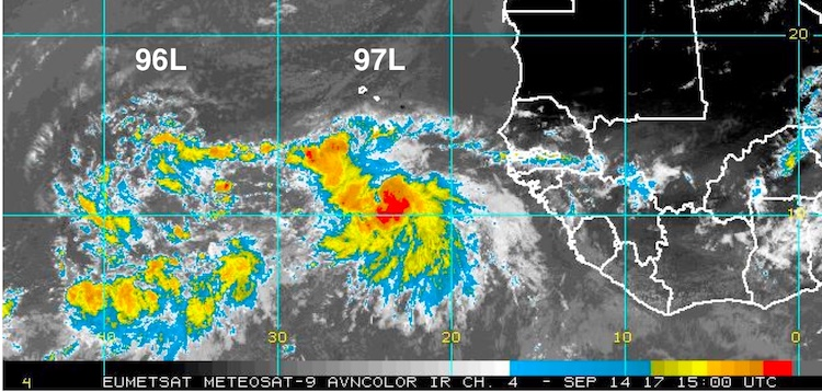 Infrared satellite image of the systems dubbed 96L and 97L in the eastern tropical Atlantic as of 11 am EDT Thursday, September 14, 2017.
