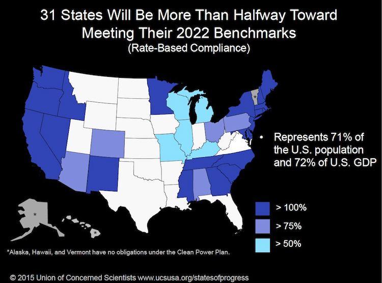 Map showing state progress toward Clean Power Plan goals
