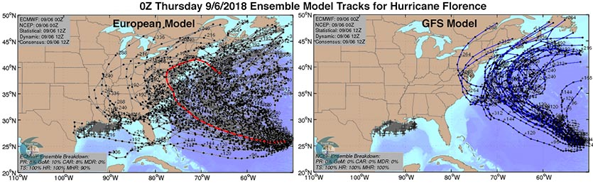 Predicted tracks for Florence from the 50 members of the 0Z Thursday (9/6/18) run of the European ensemble forecast and the 20 members of the 0Z Thursday GFS ensemble forecast