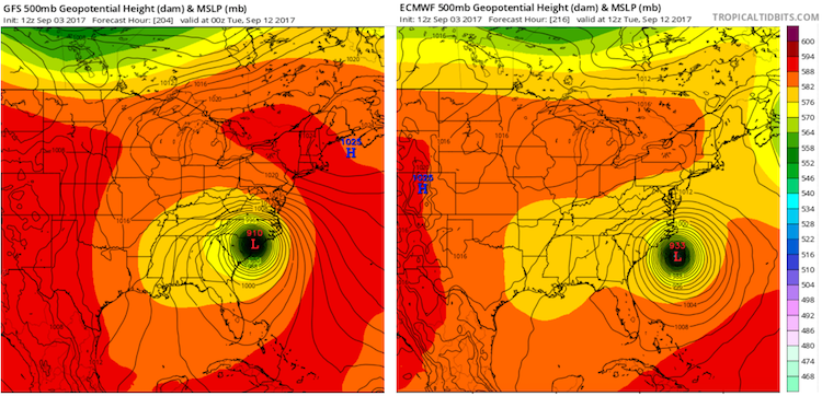 Euro and GFS runs for Irma and East Coast, 12Z 9/3/2017