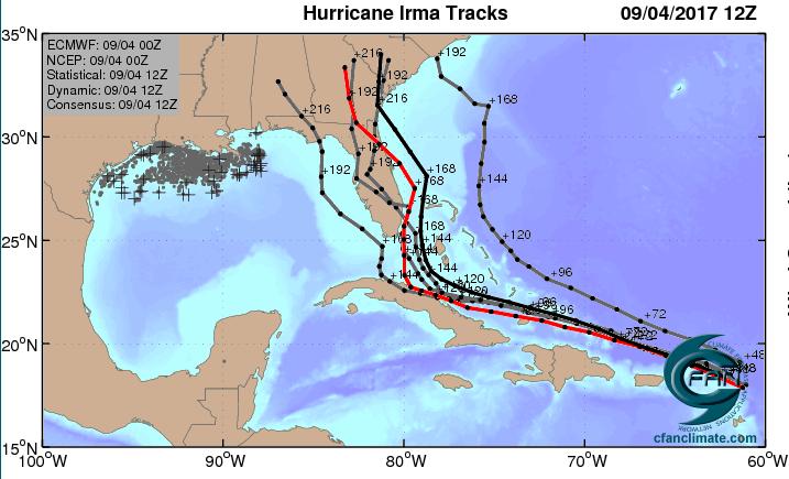 ECMWF highest-probability ensemble forecasts for Irma, 0Z 9/4/2017