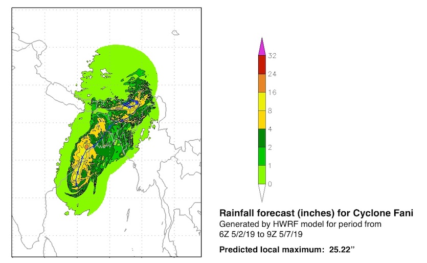 Rainfall amounts predicted by the HWRF model for the 123-hour period from 6Z (2 am EDT) Thursday, May 2, 2019, to 9Z (5 am EDT) Tuesday, May 7.