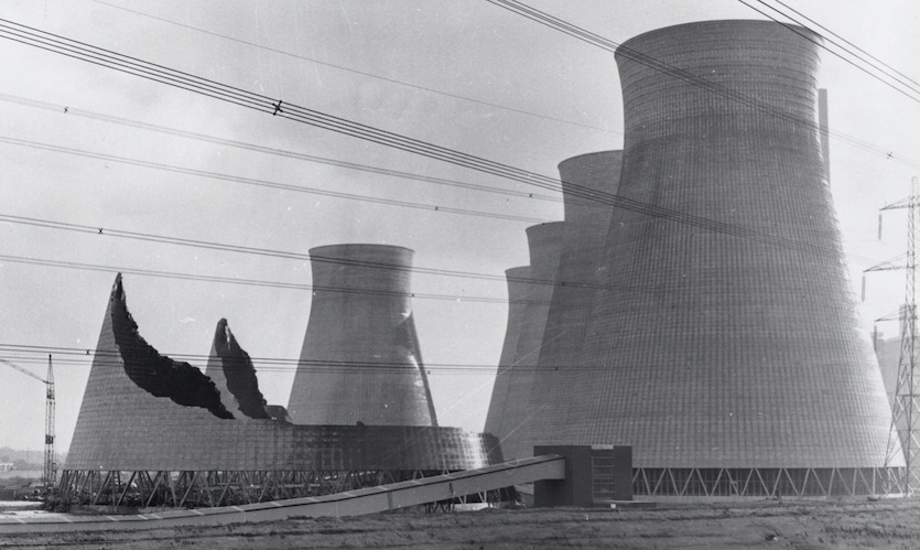 Two of the three 350-foot cooling towers at Ferrybridge, Yorkshire, that were brought down by a Von Karman vortex street on Nov, 1, 1965