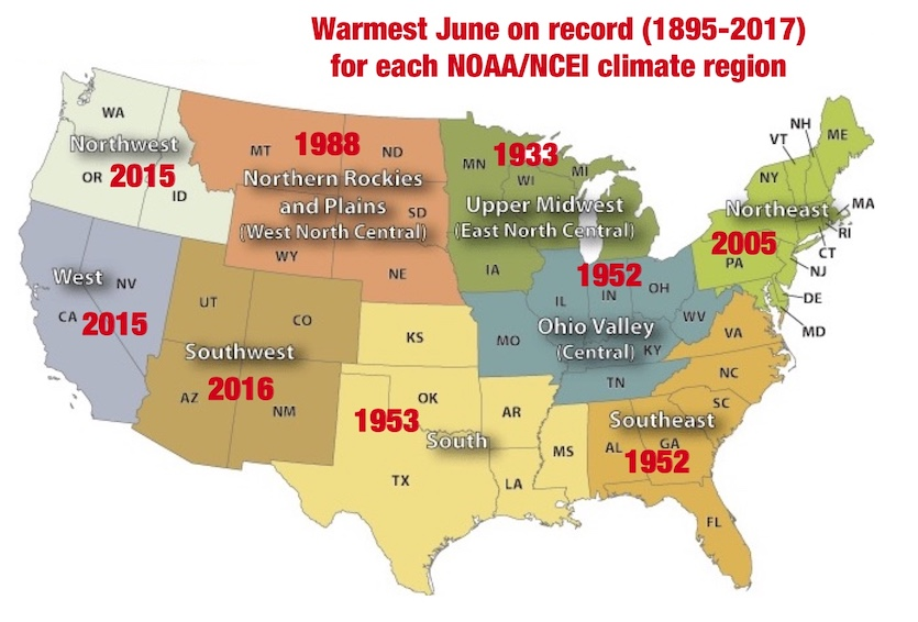 Warmest June on record for the nine U.S. climate regions