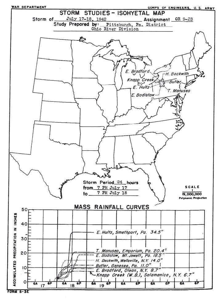 The first page of the Army Corps of Engineers' Storm Study Report' for the Smethport rain event