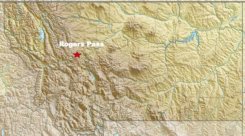 Location of Rogers Pass in western Montana (5610' elevation).