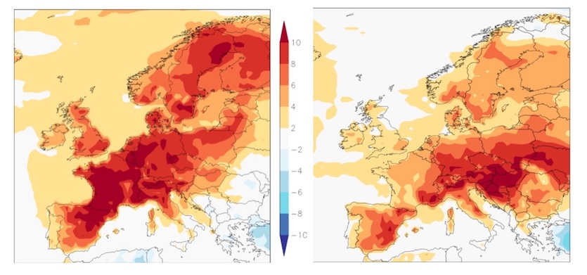 Maximum temperature anomalies for Europe (degrees C) on February 27, 2019 (left map), and February 28 (right map), two of the warmest winter days on record for the continent