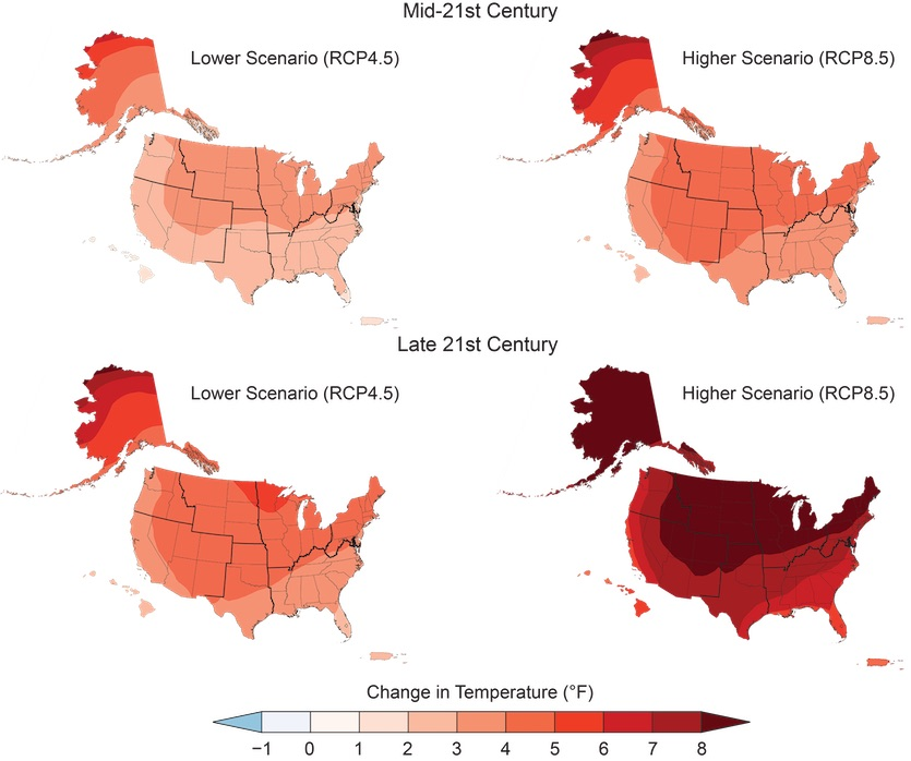 Map with projected increases in annual average U.S. temperatures in 21st century
