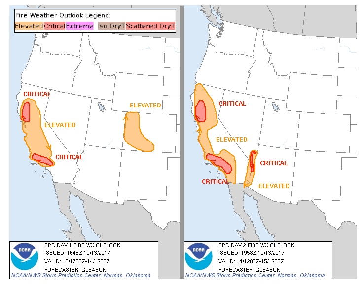 Fire weather outlooks for Friday and Saturday, October 13-14, 2017, issued by the NOAA/NWS Storm Prediction Center at midday Friday