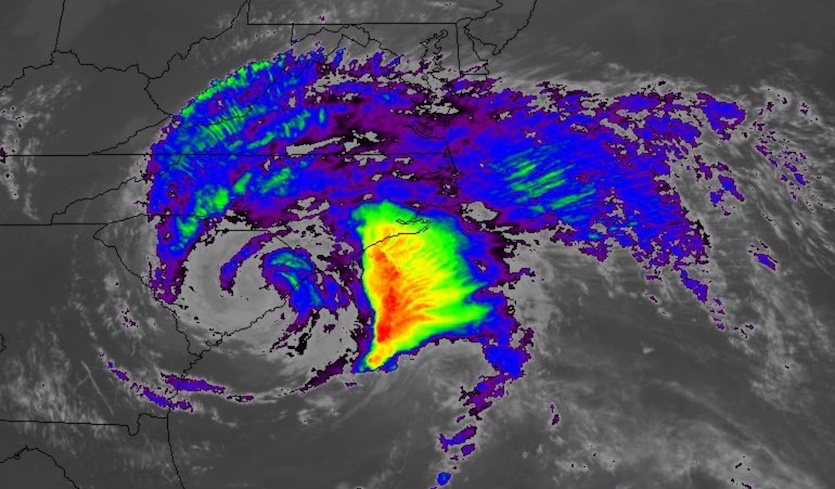 Infrared-wavelength satellite image of Tropical Storm Florence as of 1427Z (10:27 am EDT) Saturday, September 15, 2018