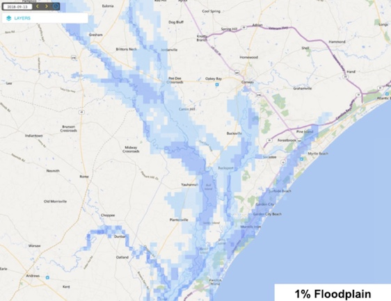 pshot of the river flooding and inundation for a flood event that has a 1% chance of occuring in a given year across portions of northeast South Carolina