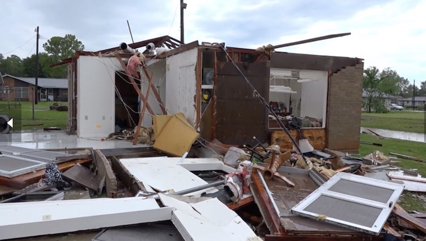 A home decimated by the tornado that struck Franklin, Texas, on Saturday, April 13, 2019