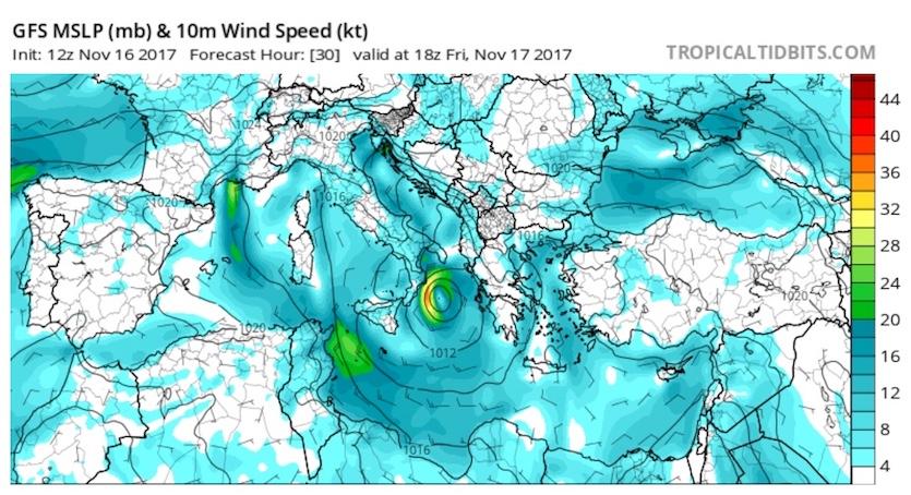 GFS 30-hr surface map of Mediterranean from 12Z 11/16/17