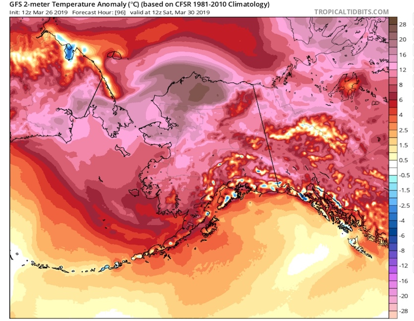 GFS 96-hr temp forecast for Alaska issued 12Z 3/26/19