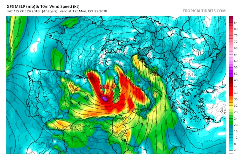 Surface winds (in knots) at 12Z (7 am European time) Monday, October 29, 2018, across southern Europe, as analyzed by the GFS model