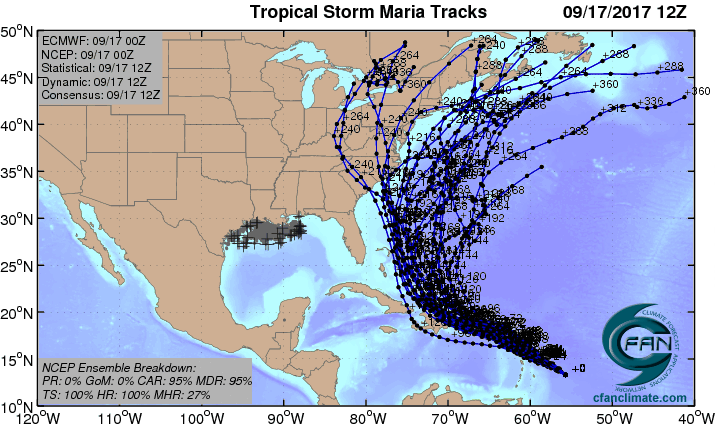 The 20 track forecasts for Maria from the 0Z Sunday, September 17, 2017 GFS model ensemble forecast.