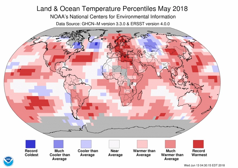 Map of global temperature departures from average, May 2018