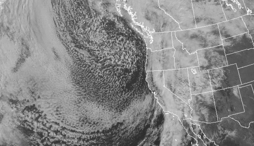 GOES visible satellite image of the California storm as of 11 am PDT Thursday, March 22, 2018