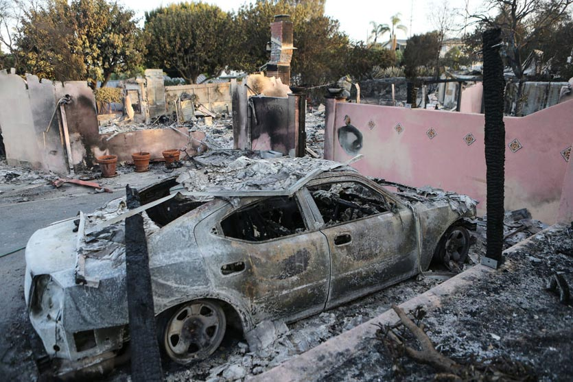 Car destroyed by Holiday Fire in Goleta, CA, 7/7/2018