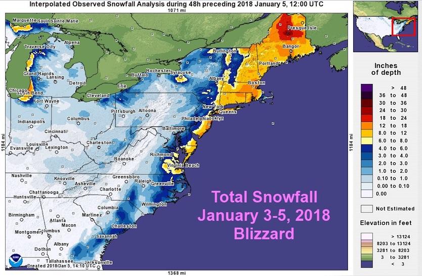 Figure 1. Total snowfall from this week's East Coast winter storm. Image credit: NOAA/NWS Eastern Region.