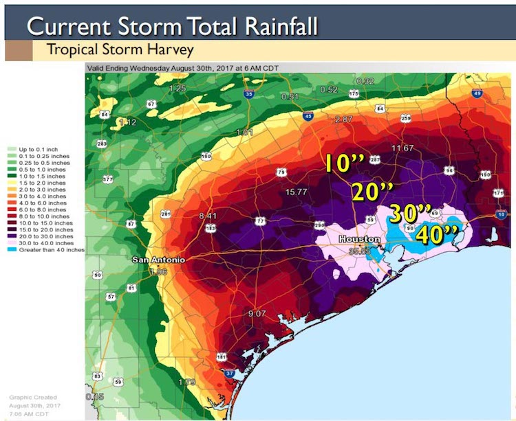 Map of total rainfall from Harvey through 8/30/2017