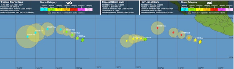 WU 3-day tracking map for Greg, Hilary, and Irwin in NE Pacific, 7/24/2017