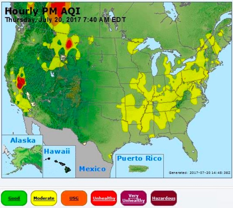Hourly Air Quality Index for particulates, 7:40 am EDT 7/20/2017