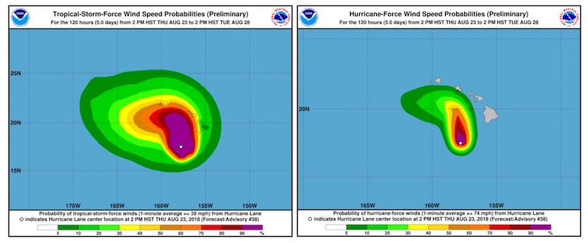 Odds of hurricane- and tropical-storm-strength winds with Lane as of Thursday night 8/23/2018