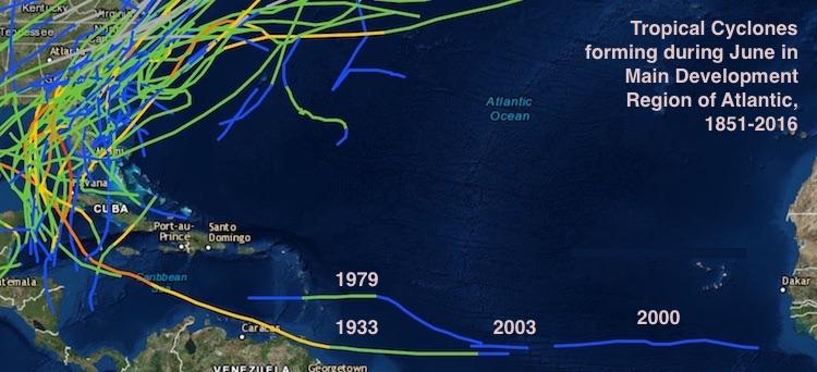 Tropical cyclones during June in Main Development Region of Atlantic, 1851-2016
