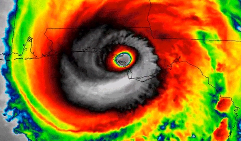 Infrared satellite image of Hurricane Michael's Category 5 landfall near Mexico Beach, Florida, on Oct. 10, 2018