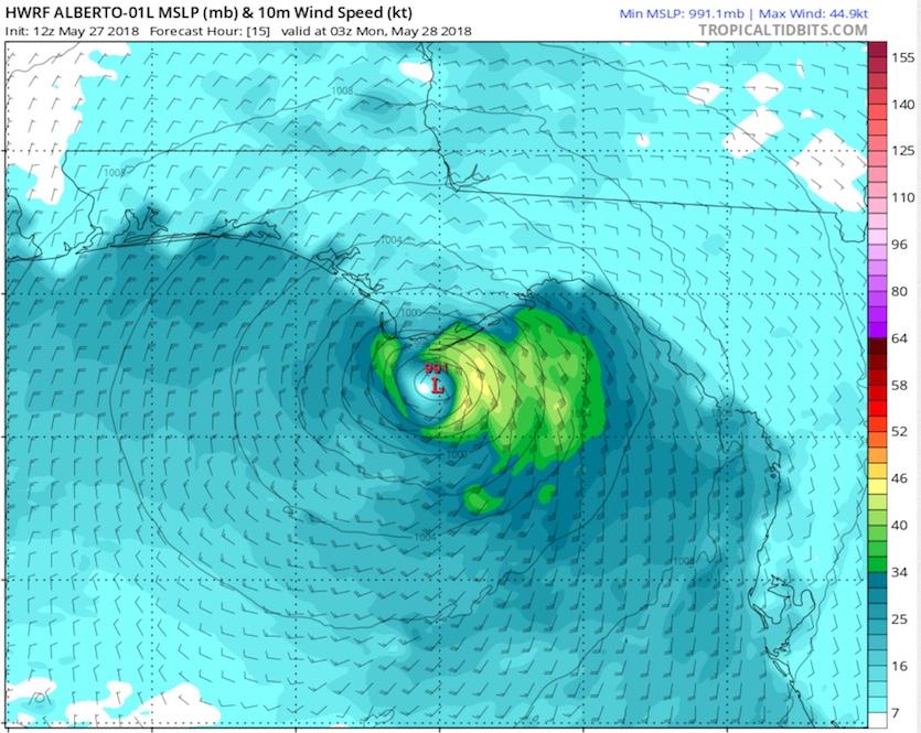 15-hour forecast of Alberto from HWRF run, 12Z 5/27/2018
