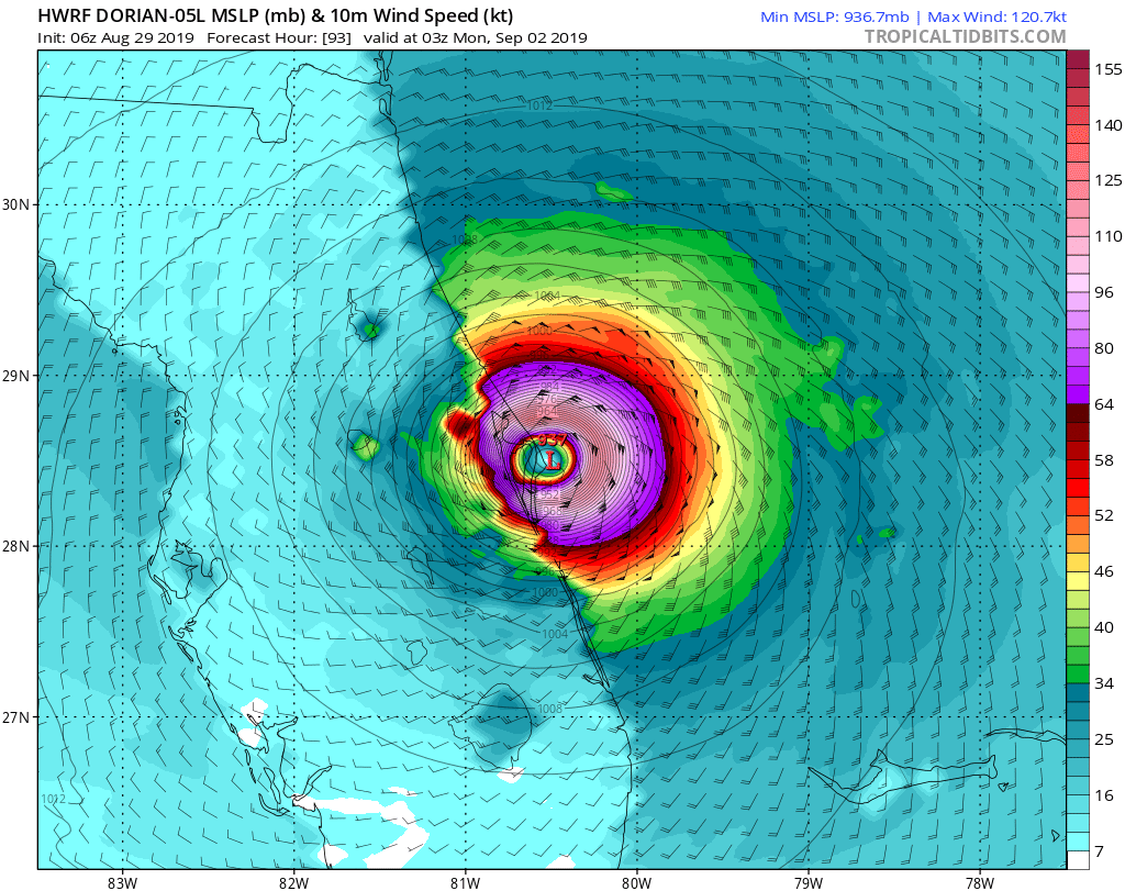 Category 1 Hurricane Dorian Expected To Be A Cat 4 By Sunday Weather Underground