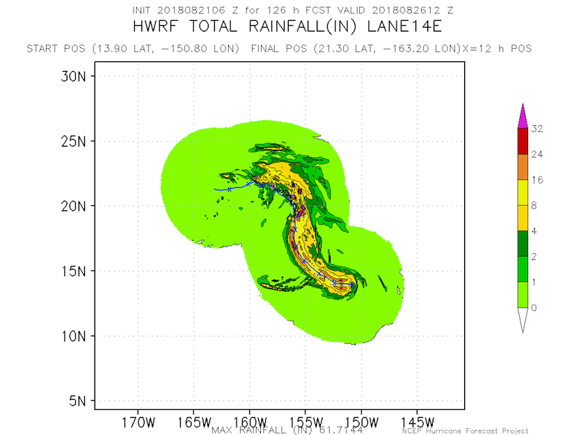 "This rainfall forecast for Lane, based on a single model run (the 06Z Tuesday run of the HWRF model), predicts peak rainfall totals exceeding 32"" on the southeast slopes of the Big Island and 16 - 24"