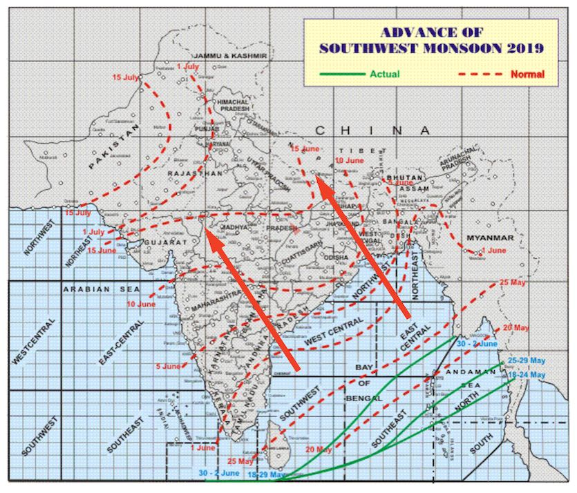 Typical progress of the Indian monsoon in its northwestward push during June and July (red dashed lines) and the progress of the 2019 monsoon (solid green lines at lower right of map).