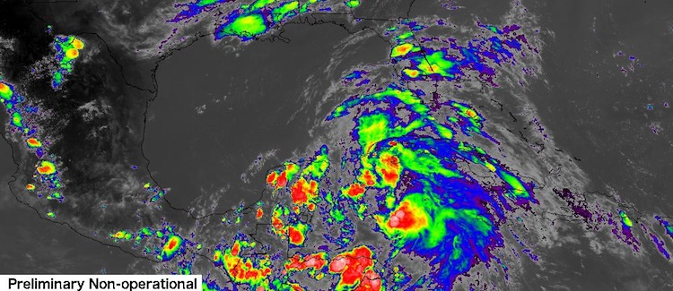 Infrared GOES-16 satellite image of Invest 93L as of 2207Z 6/18/2017