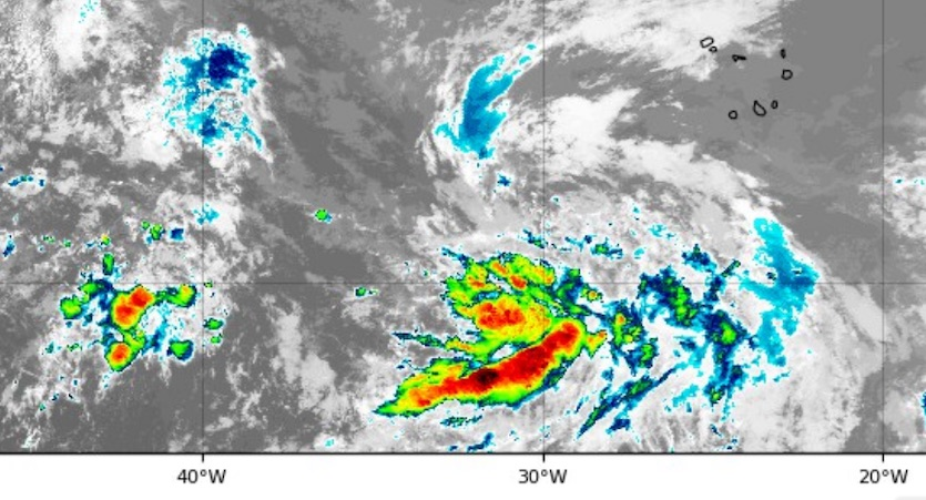 Infrared image of a strong tropical wave in the eastern Atlantic (center of image) as of 2325Z 7/30/2019
