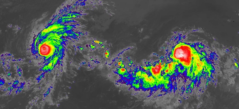 Infrared image of hurricanes Erick (left) and Flossie (right) as of 2300Z (