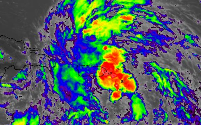 Infrared image of a northeast Caribbean disturbance at 2:15 pm EDT Saturday, September 30, 2017