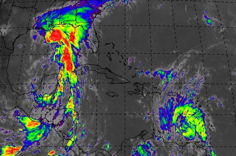 Enhanced infrared satellite image of PTC 3 and Tropical Storm Bret (lower right), 1615Z 6/20/2017