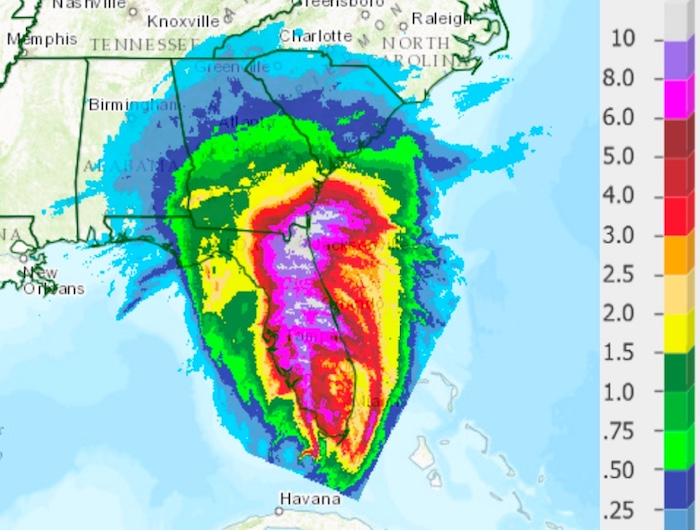 Irma's 24-hour U.S. rainfall through 8 AM 9/11/2017