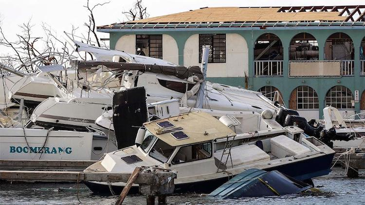Destruction left in Road Town, Tortola, British Virgin Islands by Hurricane Irma.