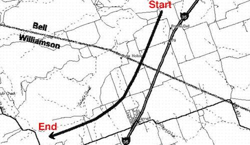 Path of Jarrell, TX, tornado, 5/27/1997