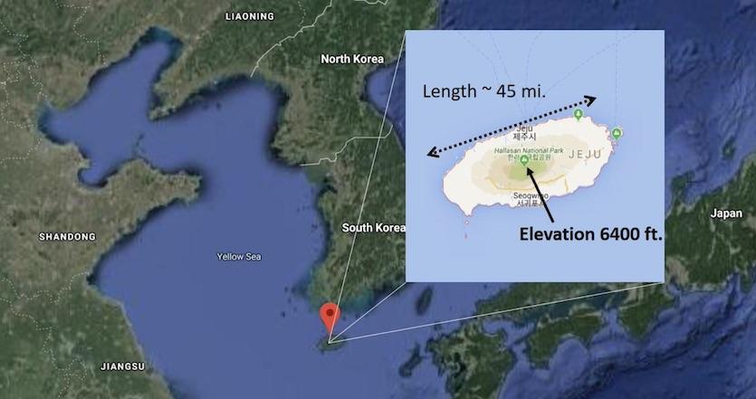 Map of Jeju island off the Korean Peninsula