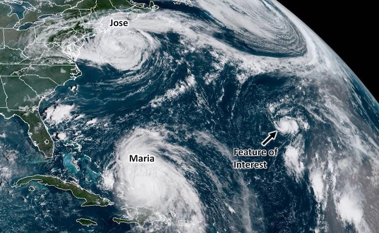 Jose, Maria, and potential TC in North Atlantic, 9/21/2017