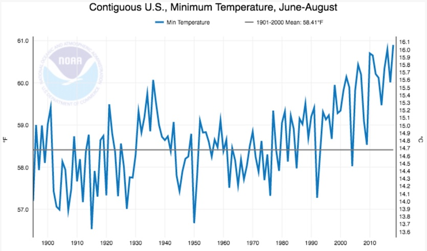 Daily minimum temperatures averaged across the summer (June-August) for the 48 contiguous U.S. states, 1895-2018