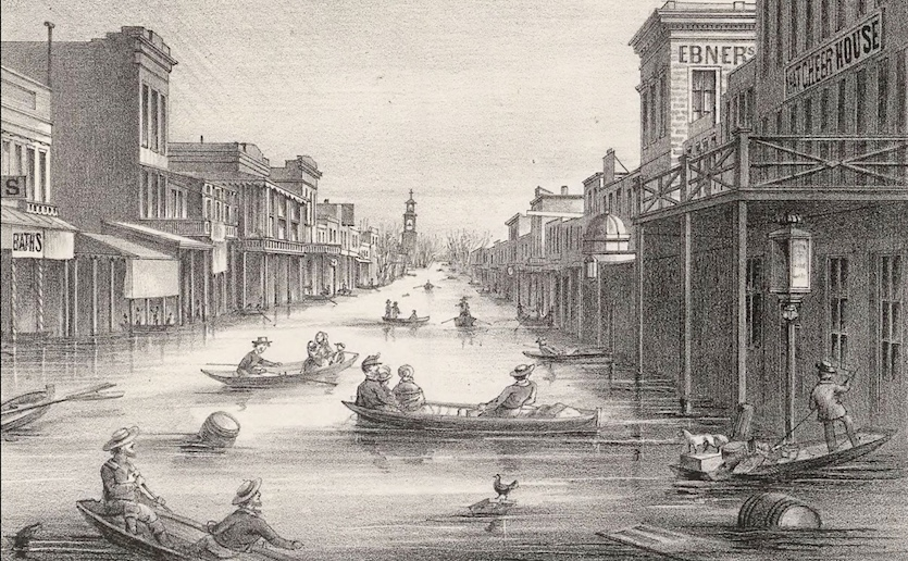 Lithograph of K Street in Sacramento during the Great Flood of 1862.