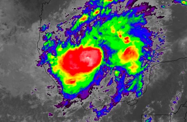 Infrared-wavelength satellite image of Hurricane Katia at 12:32 pm EDT Thursday, September 7, 2017
