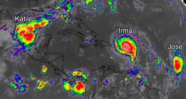 IR satellite image of Katia, Irma, Jose - 15Z 9/6/2017
